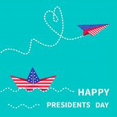 Presidents Day background Paper boat and paperplane. Dash line.