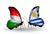 Two Butterflies With Flags On Wings As Symbol Of Relations Hungary And Uruguay