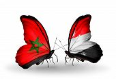 Two Butterflies With Flags On Wings As Symbol Of Relations Morocco And Yemen