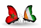 Two Butterflies With Flags On Wings As Symbol Of Relations Morocco And Cote Divoire