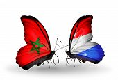 Two Butterflies With Flags On Wings As Symbol Of Relations Morocco And Luxembourg