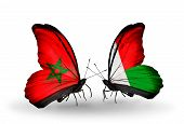 Two Butterflies With Flags On Wings As Symbol Of Relations Morocco And Madagascar