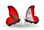 Two Butterflies With Flags On Wings As Symbol Of Relations Morocco And Malta