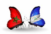 Two Butterflies With Flags On Wings As Symbol Of Relations Morocco And Nicaragua