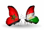 Two Butterflies With Flags On Wings As Symbol Of Relations Morocco And Tajikistan