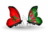 Two Butterflies With Flags On Wings As Symbol Of Relations Morocco And Turkmenistan