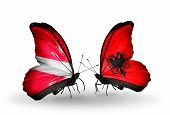Two Butterflies With Flags On Wings As Symbol Of Relations Latvia And Albania