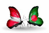 image of bangladesh  - Two butterflies with flags on wings as symbol of relations Latvia and Bangladesh - JPG