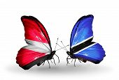 Two Butterflies With Flags On Wings As Symbol Of Relations Latvia And Botswana
