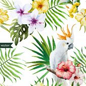 pic of hibiscus  - Beautiful vector watercolr pattern with white parrot  and hibiscus - JPG
