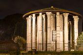 Roman Hercules Temple At Night