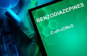 Tablet with the chemical formula of Benzodiazepines.