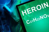 image of heroin  - Tablet with the chemical formula of heroin - JPG