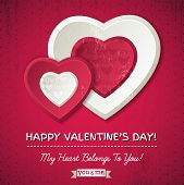 Red Background With  Two Valentine Hearts And Wishes Text