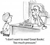 image of librarian  - Cartoon of young boy saying to librarian - JPG