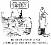pic of scientist  - Cartoon of scientist talking about shards of glass - JPG