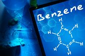 foto of formulas  - Tablet with the chemical formula of benzene - JPG
