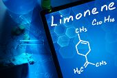 Tablet with the chemical formula of Limonene.