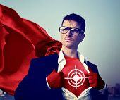 Target Strong Superhero Success Professional Empowerment Stock Concept
