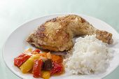 Fried Chicken Leg With Rice And Vegetables