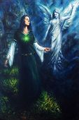 foto of encounter  - A beautiful oil painting on canvas of a mystical woman in historical dress having a visionary encounter with her guardian angel in a temple of nature - JPG