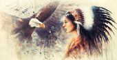 Young Indian Woman Wearing A Gorgeous Feather Headdress, With An Image  Eagle Spirits