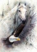 stock photo of winged-horse  - beautiful painting of a white horse with a flying eagle on an abstract textured background - JPG
