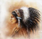 pic of headdress  - young indian woman wearing a big feather headdress a profile portrait on structured abstract background - JPG
