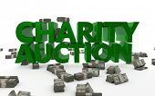 picture of word charity  - The words Charity Auction rendered in 3D with money bundles on the ground - JPG