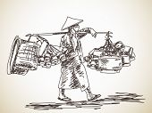 foto of yoke  - Woman carrying a yoke on her shoulder - JPG
