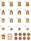 Set of the simple playing cards designs and chips