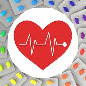 Medicine for heart and circulation with a red heart symbol (3D Rendering)