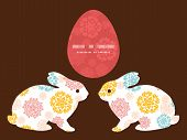 Vector abstract decorative circles stars bunny rabbit silhouette Easter frame