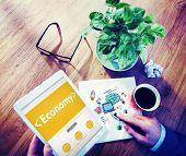 Digital Online Economy Finance Cash Flow Office Concept