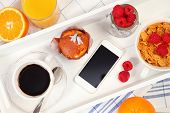 healthy breakfast and mobile phone