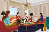 stock photo of clubbing  - A vector illustration of group of women in a book club meeting - JPG