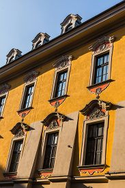 picture of tenement  - Facade of an ancient tenement in the Old Town in Krakow - JPG