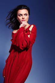 foto of marsala  - Beauty in marsala dress - JPG