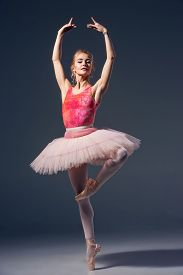 stock photo of ballerina  - Portrait of the ballerina in ballet pose on a grey background. Ballerina is wearing  pink tutu and pointe shoes ** Note: Soft Focus at 100%, best at smaller sizes - JPG