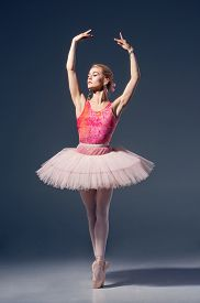 foto of ballerina  - Portrait of the ballerina in ballet pose on a grey background. Ballerina is wearing  pink tutu and pointe shoes ** Note: Soft Focus at 100%, best at smaller sizes - JPG