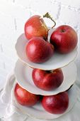 pic of serving tray  - Tasty ripe apples on serving tray close up - JPG
