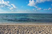 picture of playa del carmen  - Clear aqua colored water of the Caribbean Sea in Playa Del Carmen off the coast of Mexico - JPG