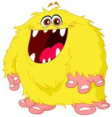 image of ogre  - Vector illustration of a hairy yellow monster - JPG