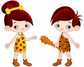 picture of cave  - Illustration of cute cave boy and club cave girl   - JPG