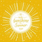 Постер, плакат: Summer card with cute sun and motivational typographic