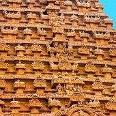picture of building relief  - great architecture of Hindu Temple element entrance gate bas - JPG