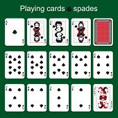 picture of ace spades  - Set of playing cards on a green background - JPG