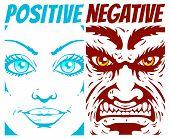 image of positive negative  - Vector illustration of a positive and negative - JPG