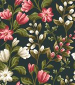 stock photo of shiting  - Floral seamless pattern with shite and red flowers on dark background in watercolor style - JPG