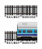 stock photo of barcode  - Railway with train as a barcode vector illustration on white background - JPG